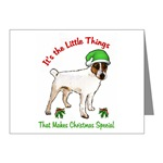 parson russell terrier holiday note cards, 10 or 20 packs