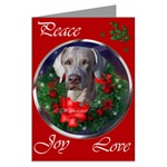 Weimaraner Christmas cards are a wonderful way to wish Peace, Joy, and Love to your family and friends.