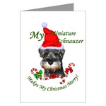 miniature schnauzer christmas cards, in single card or multi packs
