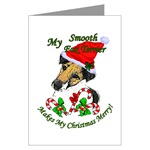 smooth fox terrier christmas cards, individual card or multi packs