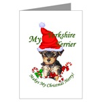 yorkshire terrier christmas cards, in single card or multi packs