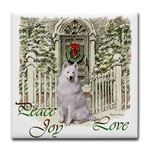 Samoyed Christmas art tile coasters, mugs, and steins. Gifts for the holidays.
