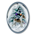 Wire Fox Terrier Christmas ornaments in round or oval shaped.
