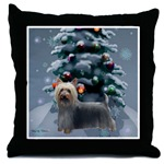 Silky Terrier Christmas gifts art throw pillow.