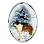 Saint Bernard Christmas ornaments in round or oval shaped