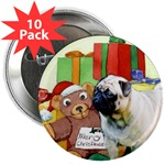 pug christmas buttons, magnets, stickers in singles and packs of 10 or bulk 100's