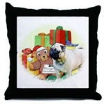 pug xmas holiday throw pillow