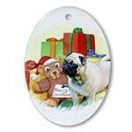 pug lovers christmas holiday ornament