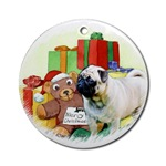 pug oval christmas ornaments