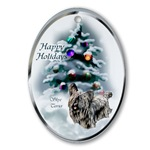 Skye Terrier Christmas ornaments in round or oval shaped.