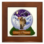 Yellow Labrdor Retriever Christmas gifts framed art tile