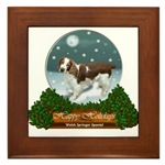 welsh springer christmas holiday framed tile