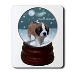 Christmas gifts for saint bernard owners, snow globe art mousepad.