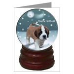 Sanit Bernard snow globe effect art for the holidays, Christmas cards, ornaments, sweatshirts, and other gifts to make Christmas extra special