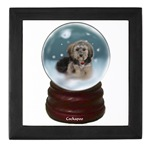 cockapoo christmas snow globe keepsake box