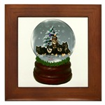 finnish lapphund snow globe art framed tile makes great gift idea