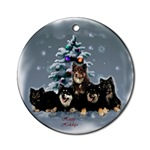 finnish lapphund christmas ornaments, round ornament