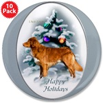 duck toller christmas art buttons, magnets, singles or bulk packs
