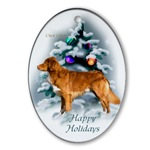 duck toller christmas holiday ornaments, oval ornament