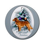 nova scotia duck tolling retriever christmas ornaments, round ornament