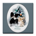 Papillon Christmas tile coaster, great gifts for the holidays