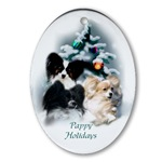 Papillon Christmas ornaments, oval shaped ornament