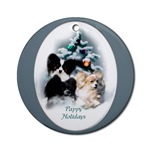 Papillon Christmas ornaments, round ornament