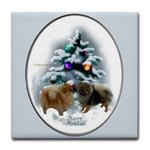 pomeranians in a magical forest original art on tile coaster