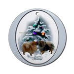 Pomeranian Christmas ornaments, round ornament