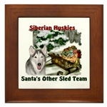 siberian husky christmas art framed tile