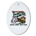 siberian huskies christmas ornaments, oval ornament