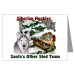 siberian husky christmas cards, single card or multi packs