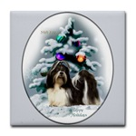 shih tzu christmas tile coasters, great gift idea for shih tzu lovers