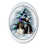 shih tzu christmas holiday ornaments, oval ornament