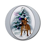 staffordshire bull terrier christmas ornaments, round ornament