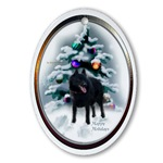 schipperke christmas oval ornaments