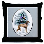 Saluki Christmas art throw pillow will add a touch of beauty to your holiday home decor.