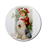 Old English Sheepdog Christmas art ornaments in round and oval shaped