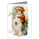Old English Sheepdog Christmas cards have a vintage look and are a beautiful way to say happy holidays to family and friends