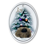 pekingese oval christmas ornaments