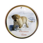Yellow Labrador Retriever puppy Christmas ornaments for your tree