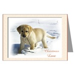 Yellow Labrador Retriever puppy art Christmas cards are a wonderful way to send holiday greetings to loved ones.