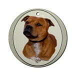 staffordshire bull terrier ornaments in both round and oval