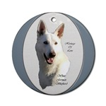 white german shepherd round and oval ornaments