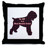 Black Russian Terrier art throw pillow