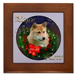 Shiba Inu Christmas art framed tile. Great gifts.