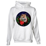 Beautiful shiba inu Christmas art on a wide variety of holiday apparel items.