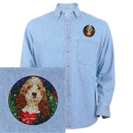 Denim shirt with our PBGV infistitch embroidery for that casual holiday event