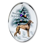 Saluki art Christmas ornaments in round or oval shaped