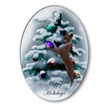 Basenji Christmas ornaments in oval shaped or round